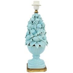 Spanish 1960s Majolica Blue Glazed Manises Ceramic Fruit Table Lamp