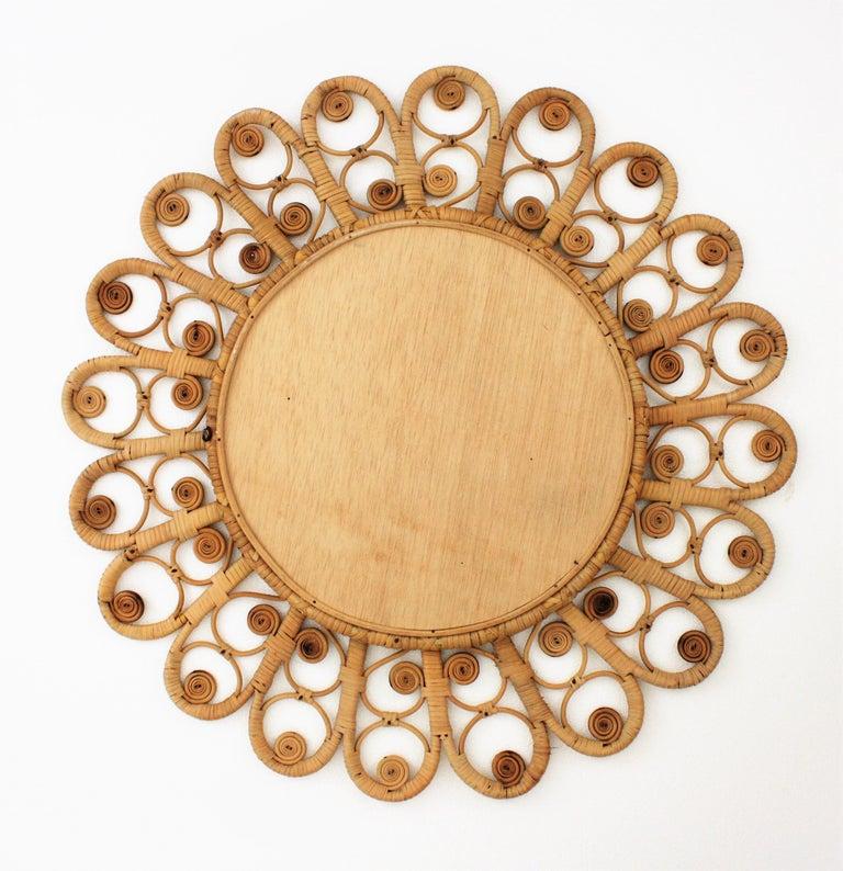 Spanish Mediterranean Boho Style Wicker and Rattan Filigree Round Mirror For Sale 4