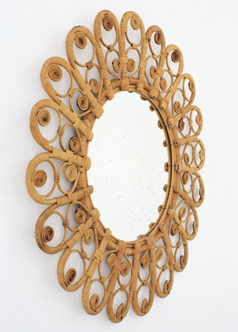 Hand-Crafted Spanish Mediterranean Boho Style Wicker and Rattan Filigree Round Mirror For Sale
