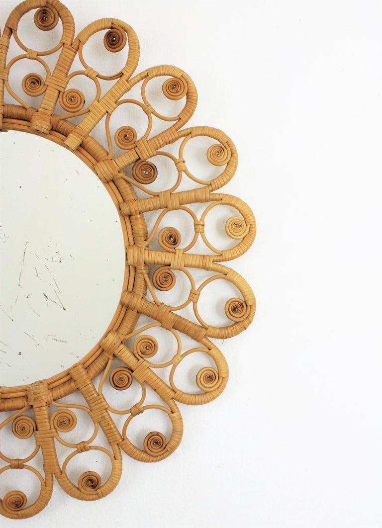 20th Century Spanish Mediterranean Boho Style Wicker and Rattan Filigree Round Mirror For Sale