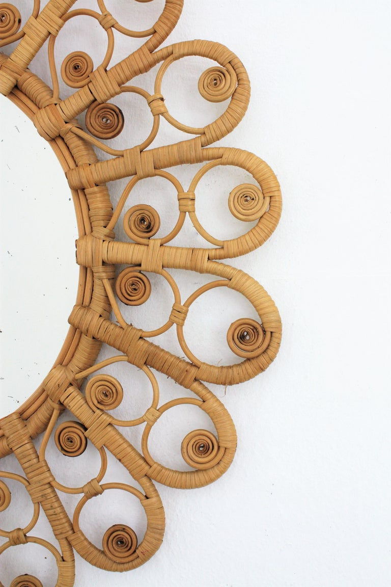 Spanish Mediterranean Boho Style Wicker and Rattan Filigree Round Mirror For Sale 1
