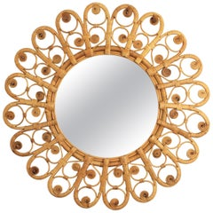 Spanish Mediterranean Boho Style Wicker and Rattan Filigree Round Mirror