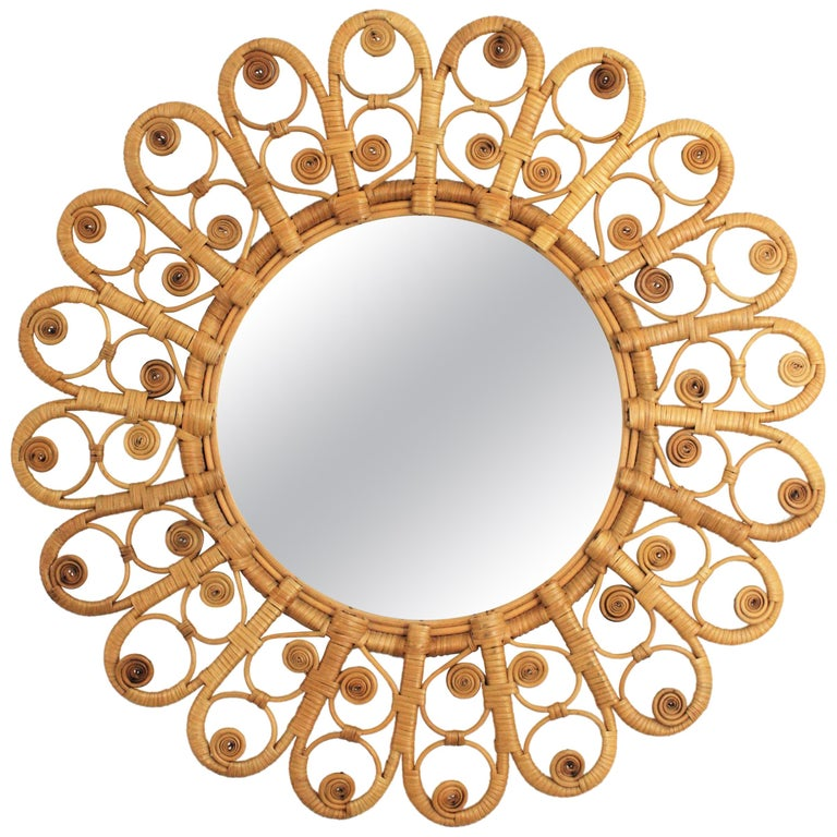 Spanish Mediterranean Boho Style Wicker and Rattan Filigree Round Mirror For Sale