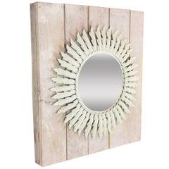 Spanish 1960s Mediterranean White Patinated Iron Sunburst Mirror Wall Decoration