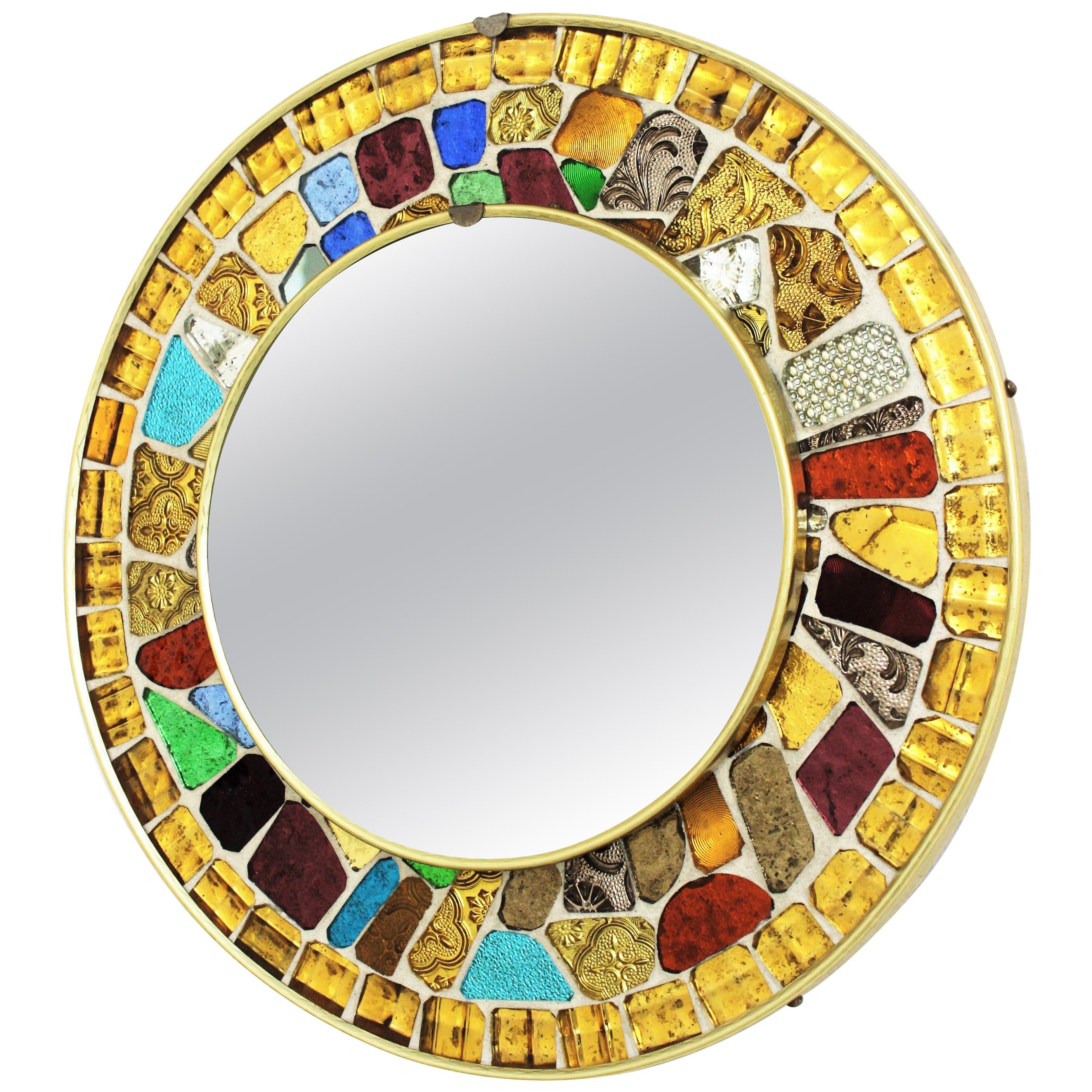 Round Wall Mirror with Multicolor Golden Glass Mosaic Frame, 1960s