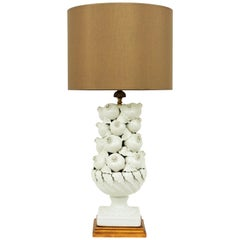 Spanish 1960s Pomegranates Majolica White Glazed Ceramic Large Table Lamp