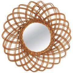 Spanish 1960s Wicker Rattan Flower Shaped Sunburst Mirror