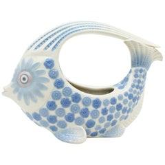 Spanish 1970s Lladró Porcelain Blue and White Fish Figure Centerpiece or Planter