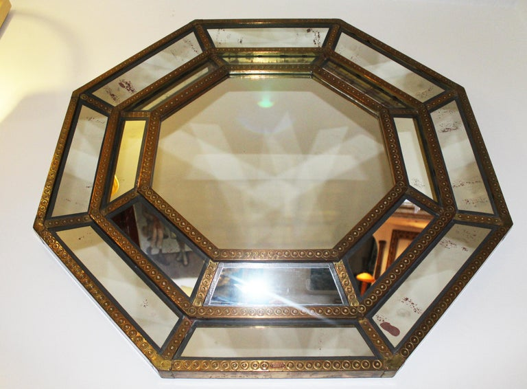 Mid-Century Modern Spanish, 1980s Bedoya Arte Signed Octagonal Mirror For Sale