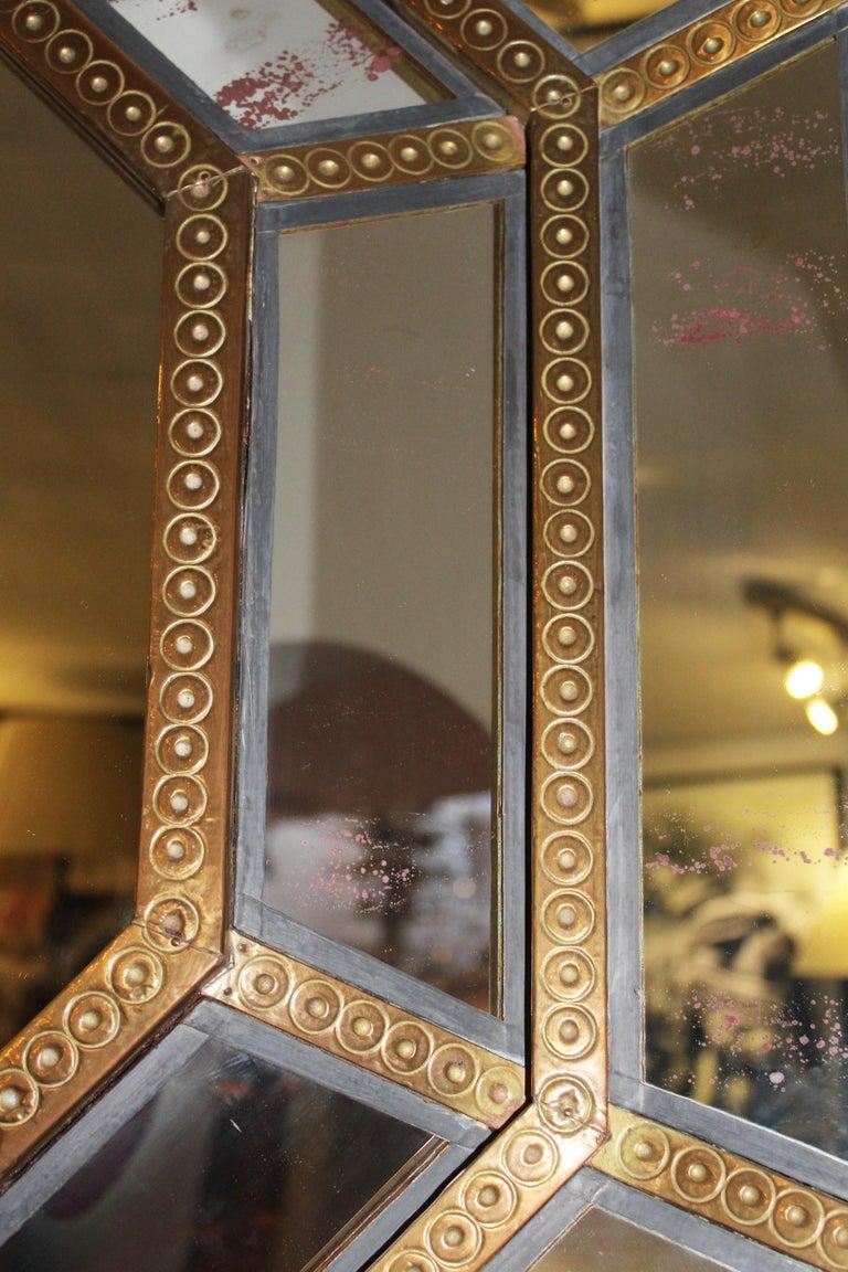 Bronze Spanish, 1980s Bedoya Arte Signed Octagonal Mirror For Sale