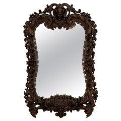 Spanish 19th Century Baroque Style Walnut Mirror