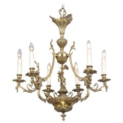 Spanish 19th Century Bronze Six-Light Chandelier with Cherubs and Floral Decor