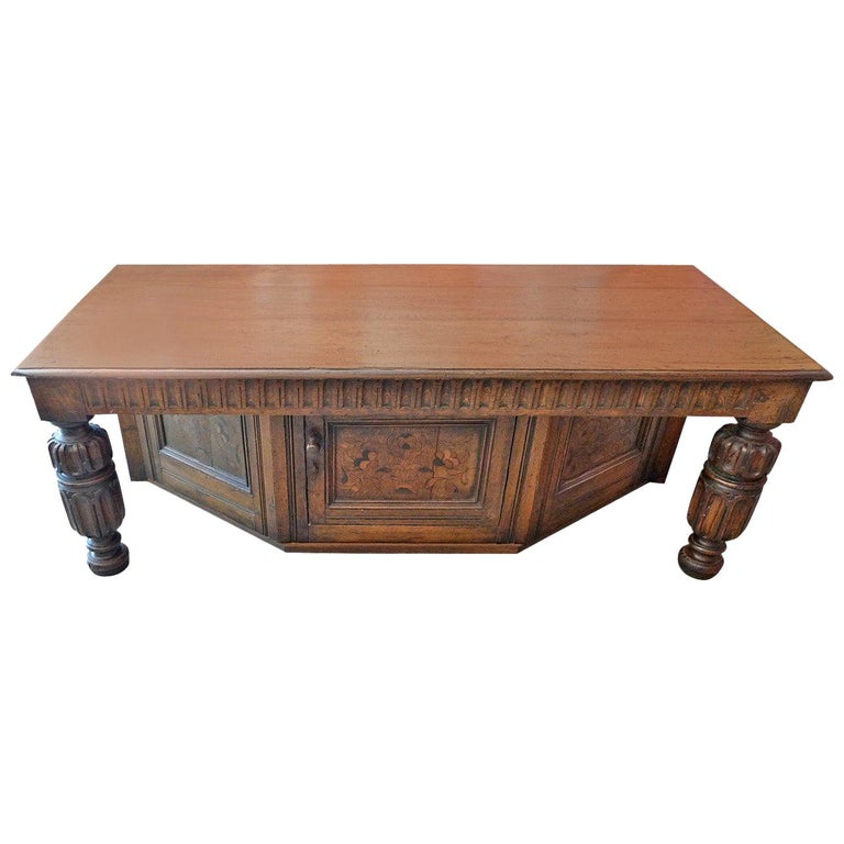 Spanish 19th Century Carved Walnut Coffee Table with Small Storage Compartment For Sale