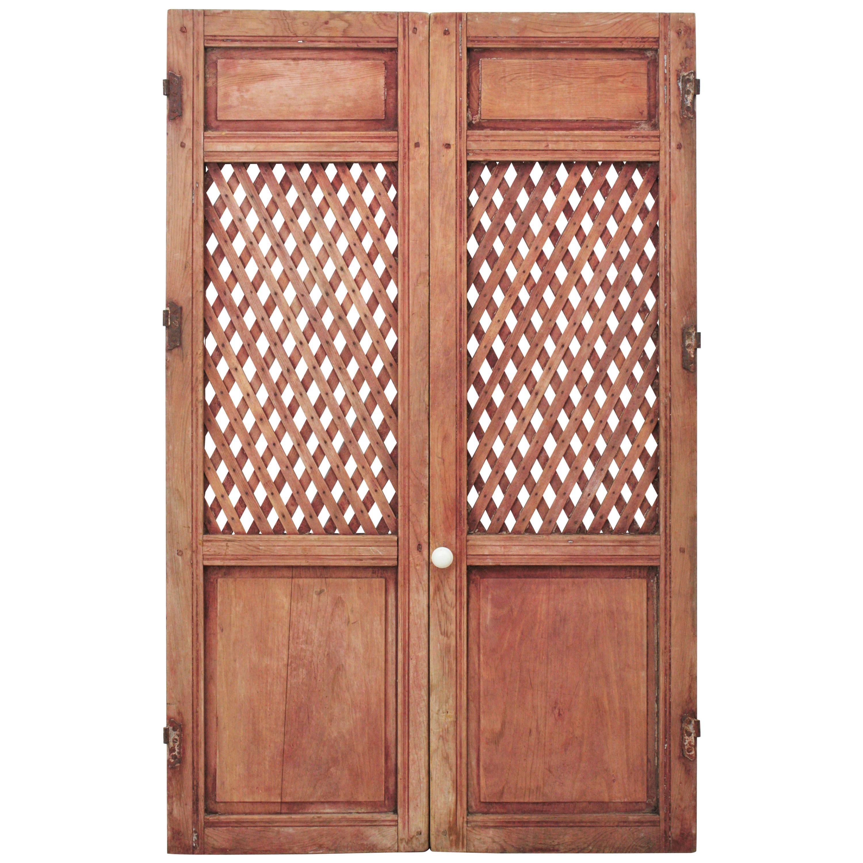 Spanish 19th Century Carved Wood Lattice Rustic Doors