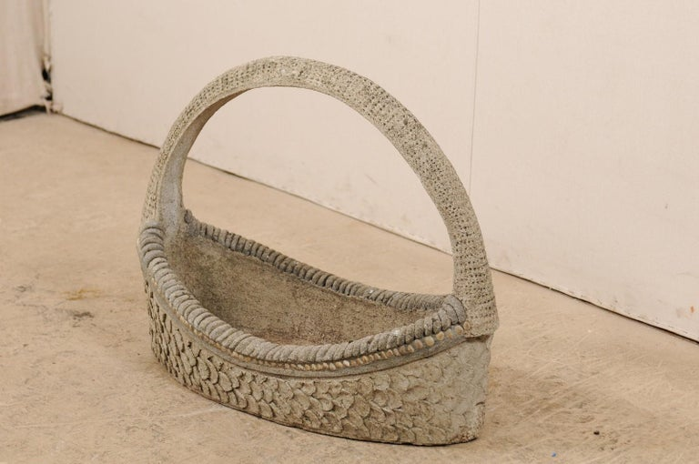 Spanish 19th Century Cast-Stone Garden Basket For Sale 6