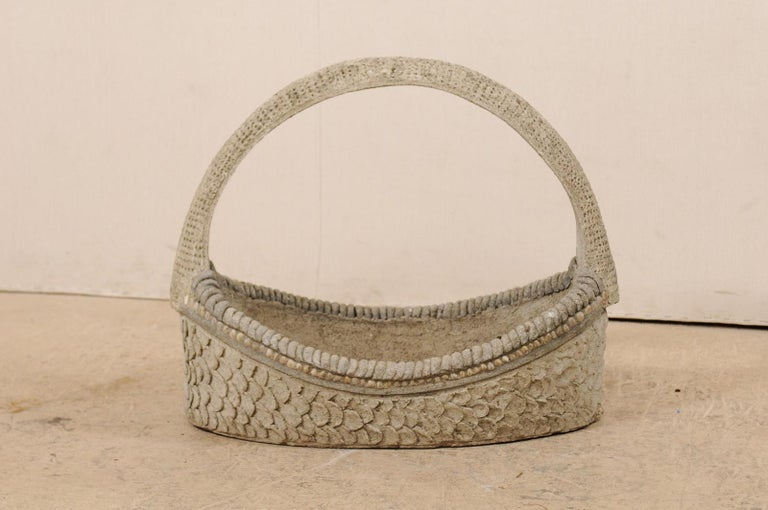 Carved Spanish 19th Century Cast-Stone Garden Basket For Sale