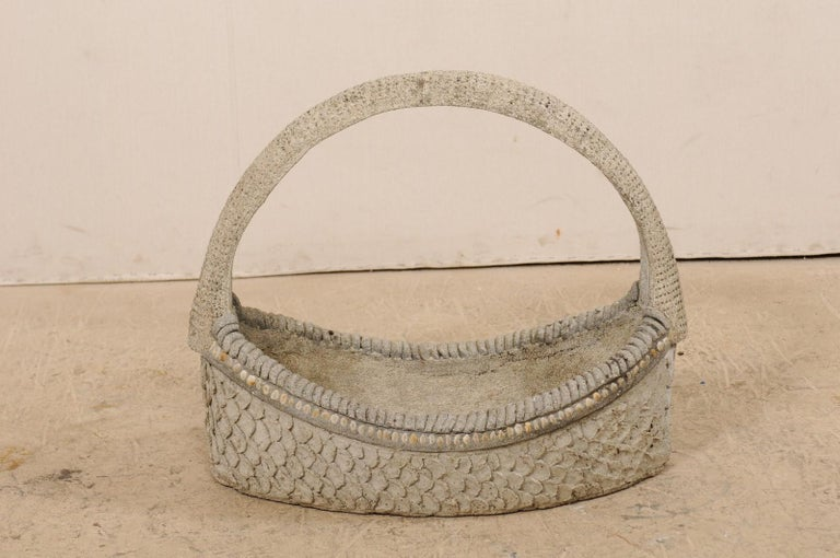Spanish 19th Century Cast-Stone Garden Basket In Good Condition For Sale In Atlanta, GA