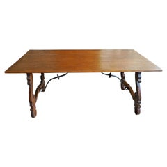 Spanish 19th Century Farm House Dining Table with Lyre Legs and Iron Supports