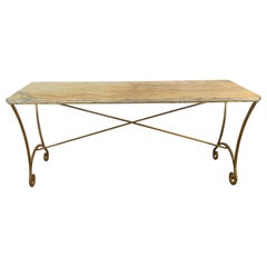Spanish 19th Century Gilt Overlay on Iron with Antique Marble-Top Console