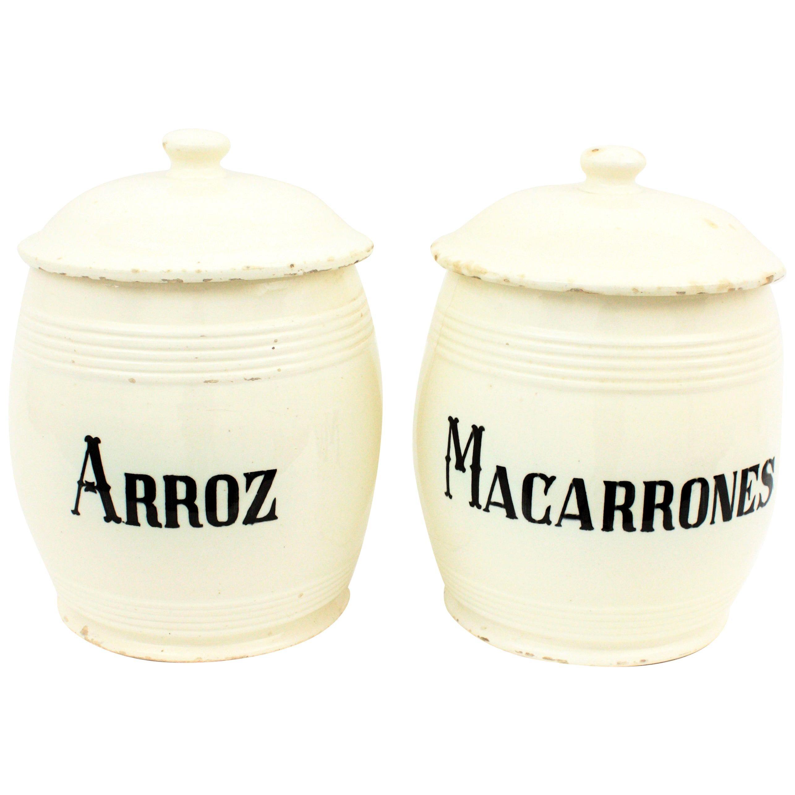 Spanish Glazed Ceramic Storage Jars / Kitchen Pottery Canisters