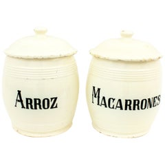Spanish 19th Century Glazed Ceramic Storage Jars / Kitchen Pottery Canisters