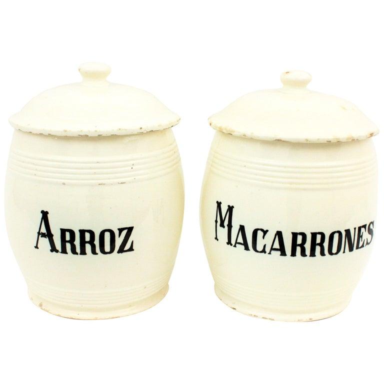 Spanish Glazed Ceramic Storage Jars / Kitchen Pottery Canisters For Sale