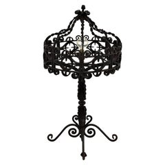 Spanish 19th Century Gothic Revival Wrought Iron Scroll Motif Table Lamp