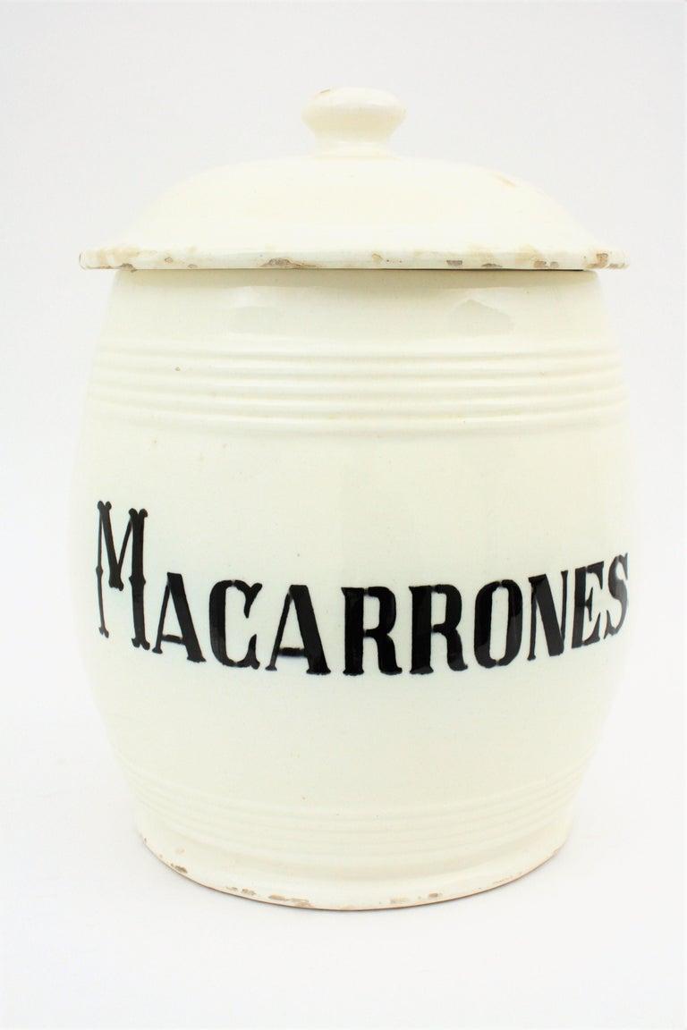 Spanish Glazed Ceramic Storage Jars / Kitchen Pottery Canisters For Sale 5