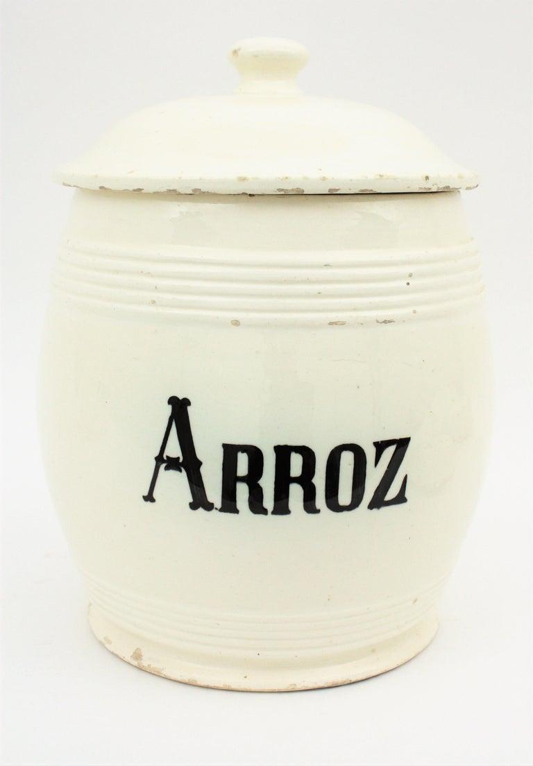 Spanish Glazed Ceramic Storage Jars / Kitchen Pottery Canisters For Sale 7