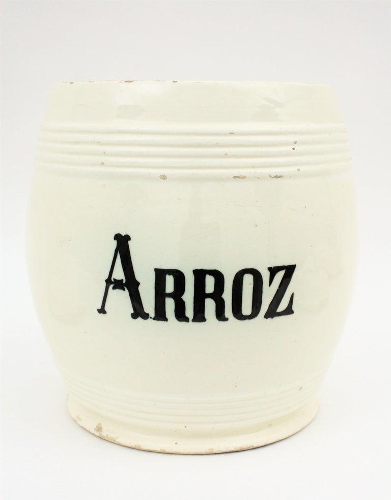 Spanish Glazed Ceramic Storage Jars / Kitchen Pottery Canisters For Sale 8