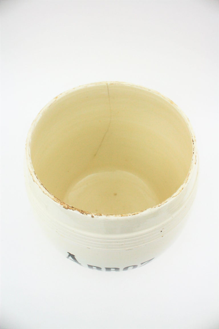 Spanish Glazed Ceramic Storage Jars / Kitchen Pottery Canisters For Sale 9