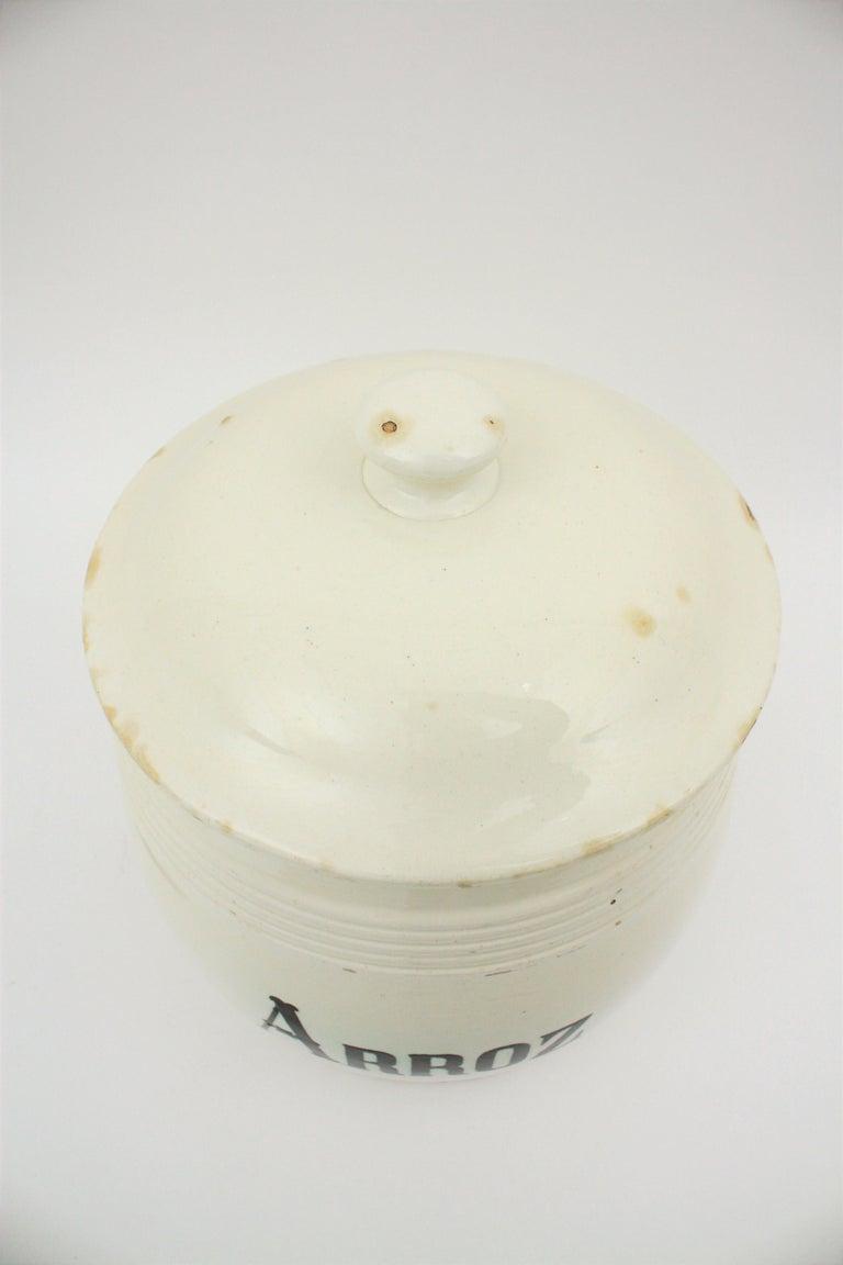 Spanish Glazed Ceramic Storage Jars / Kitchen Pottery Canisters For Sale 10