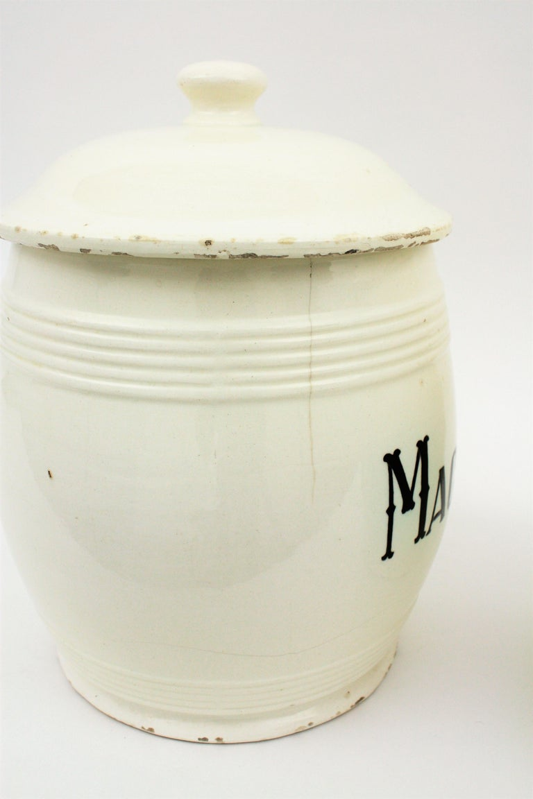 Spanish Glazed Ceramic Storage Jars / Kitchen Pottery Canisters For Sale 12