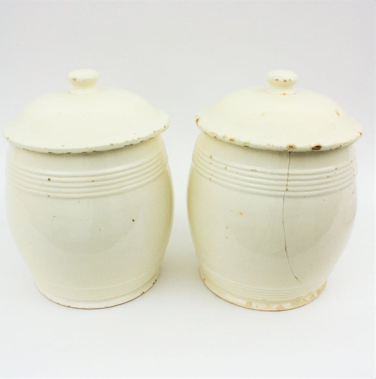 Spanish Glazed Ceramic Storage Jars / Kitchen Pottery Canisters For Sale 13