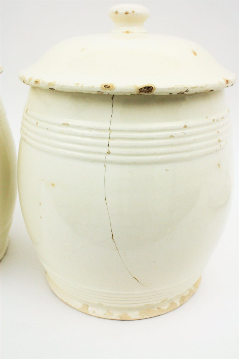 Spanish Glazed Ceramic Storage Jars / Kitchen Pottery Canisters For Sale 14