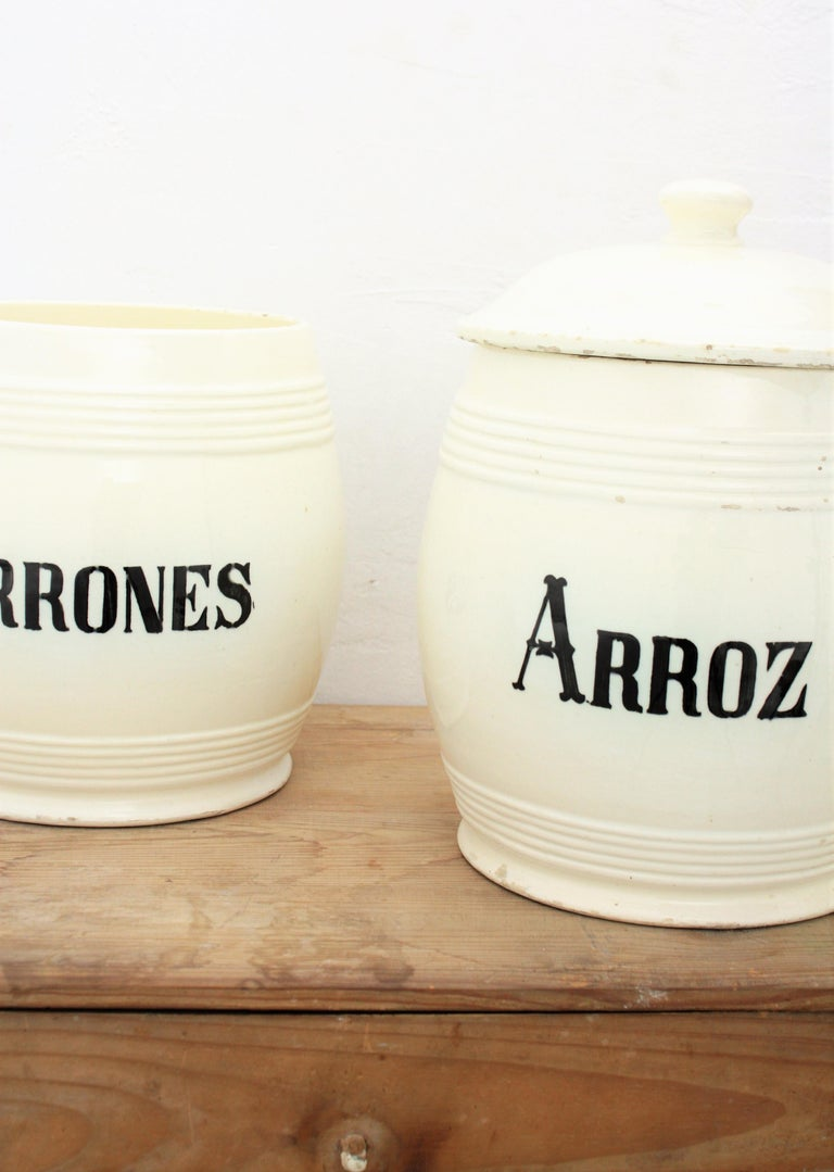 Rustic Spanish Glazed Ceramic Storage Jars / Kitchen Pottery Canisters For Sale