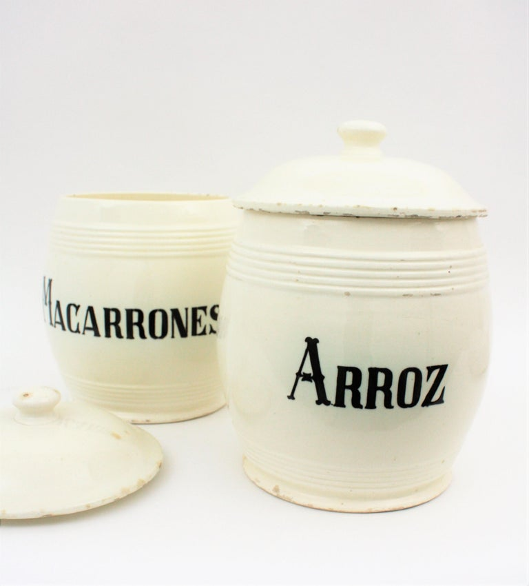 Spanish Glazed Ceramic Storage Jars / Kitchen Pottery Canisters In Good Condition For Sale In Barcelona, ES