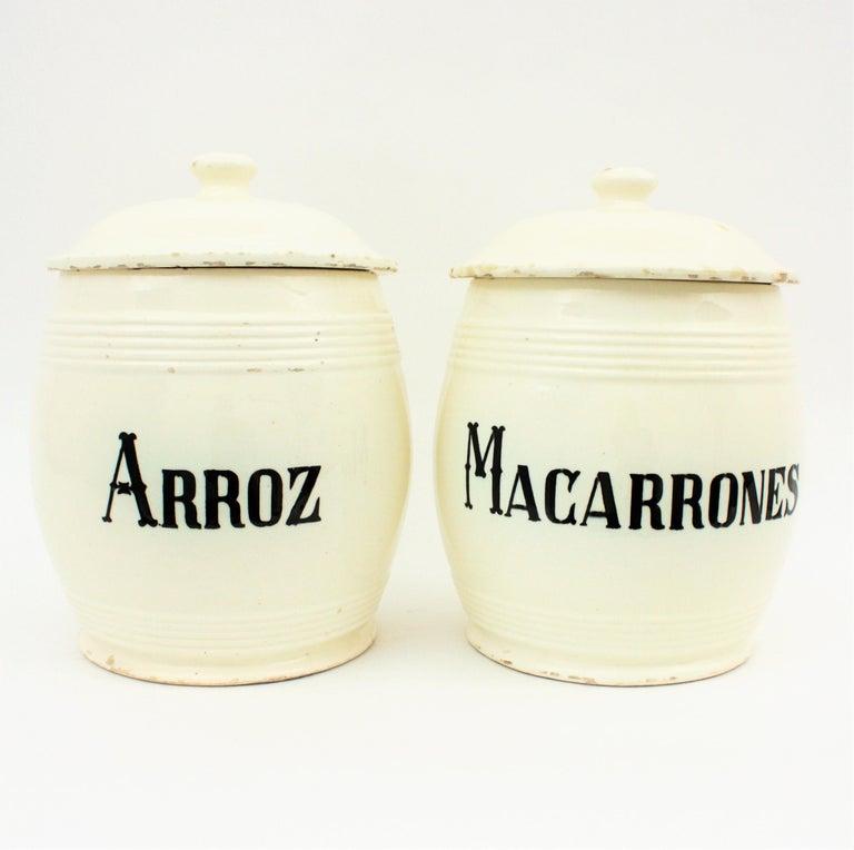 Spanish Glazed Ceramic Storage Jars / Kitchen Pottery Canisters For Sale 1