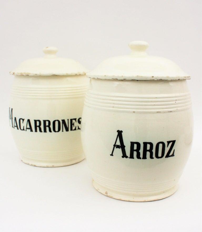 Spanish Glazed Ceramic Storage Jars / Kitchen Pottery Canisters For Sale 2