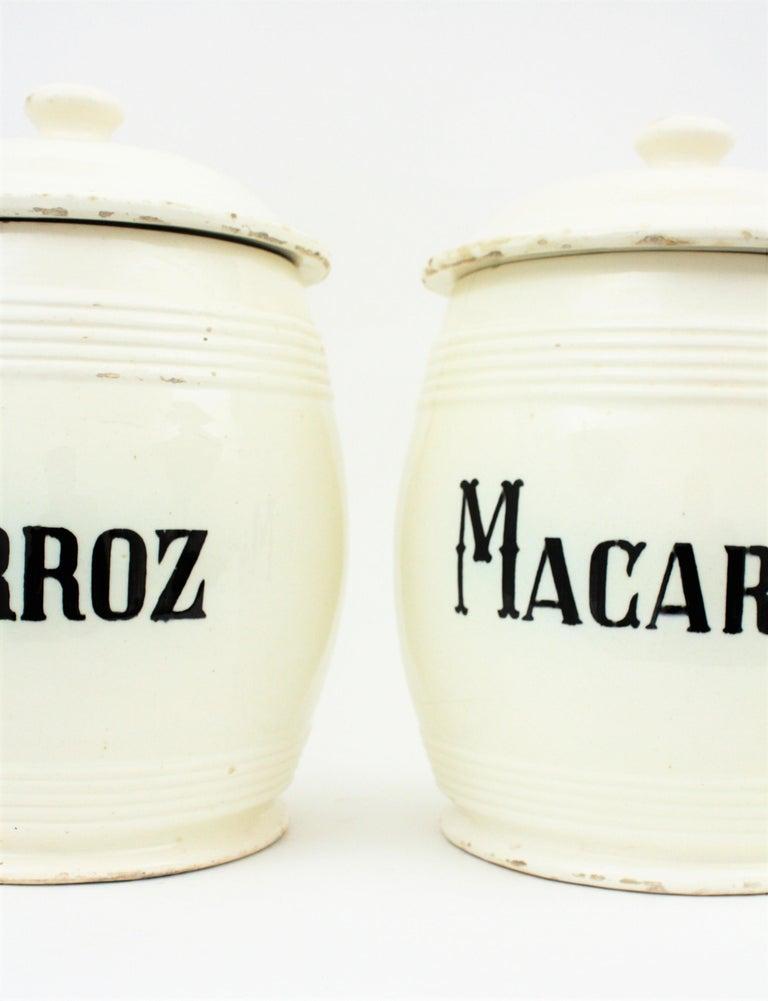 Spanish Glazed Ceramic Storage Jars / Kitchen Pottery Canisters For Sale 3