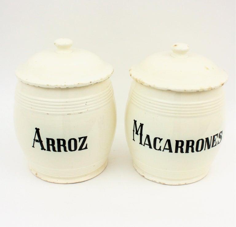Spanish Glazed Ceramic Storage Jars / Kitchen Pottery Canisters For Sale 4