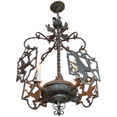 Spanish 19th Century Metal Chandelier with Four Lights and Four Dragon Guards