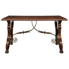 Spanish 19th Century Renaissance Style Walnut Trestle Table