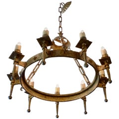 Spanish 19th Century Round Gilded Iron Chandelier with Nine Outer Lights