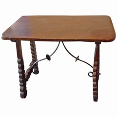 Spanish 19th Century Stained Wood and Iron End Table