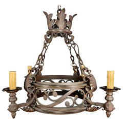 Spanish '4' Light Wrought Iron Chandelier