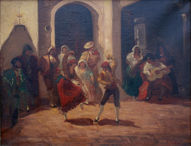 Spanish Andalusian Costumbrist goyesque scene oil on canvas. Signature unreadable.   Dimensions with frame: 63 x 77.5 x 4 cm.