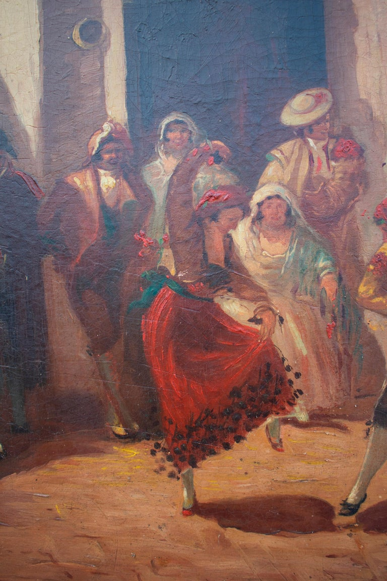 Spanish Andalusian Costumbrist Goyesque Scene Oil on Canvas In Good Condition For Sale In Malaga, ES