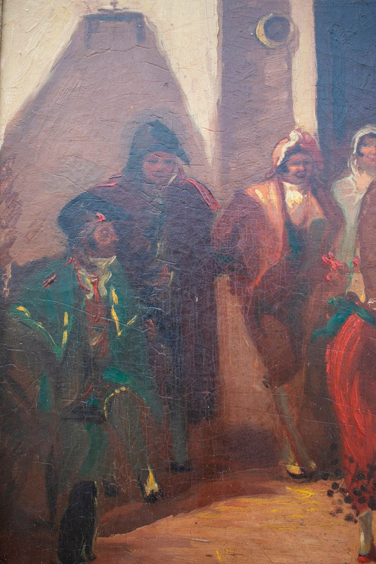 19th Century Spanish Andalusian Costumbrist Goyesque Scene Oil on Canvas For Sale