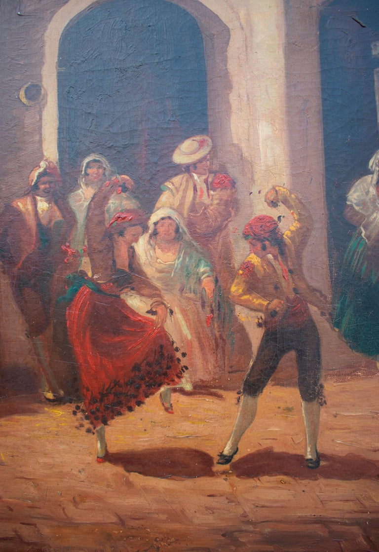 Spanish Andalusian Costumbrist Goyesque Scene Oil on Canvas For Sale 1